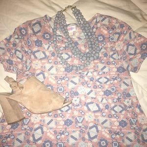 LulaRoe Carly Hi-Lo Dress in Pink/Blue